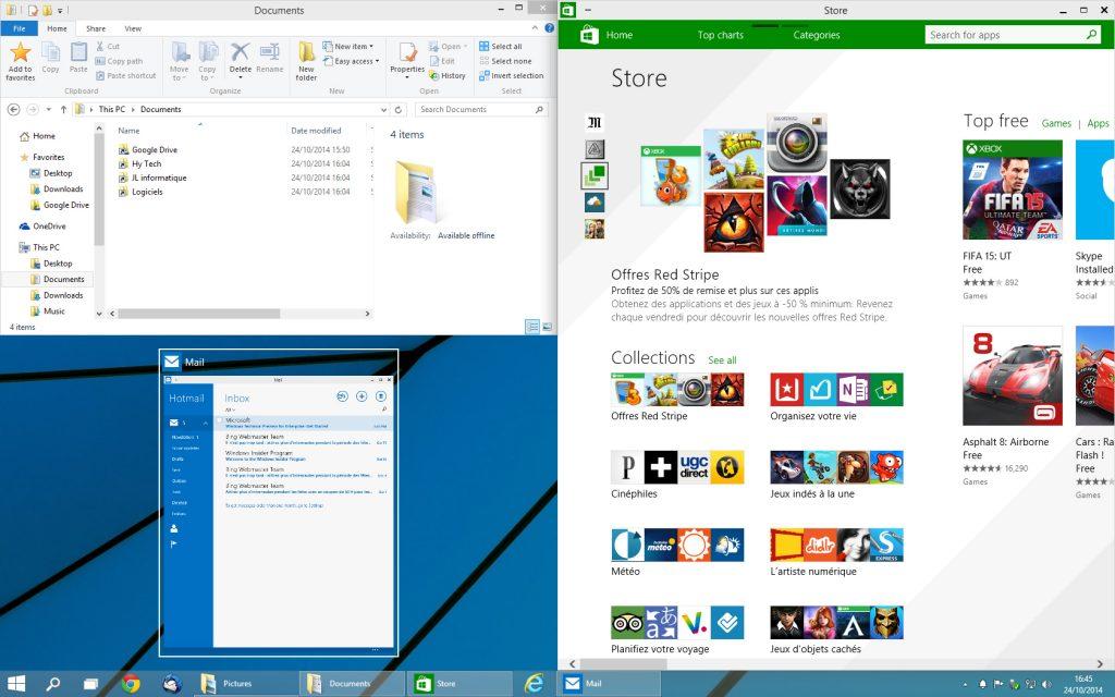 Windows 10 - applications fenêtrées