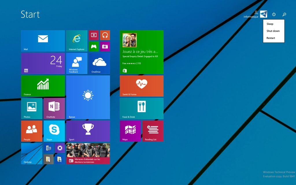 Windows 10 - écran d'accueil 1