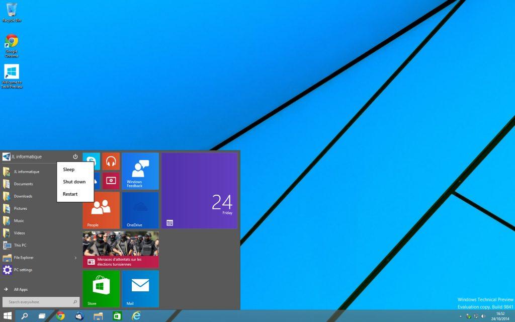Windows 10 - menu démarrer