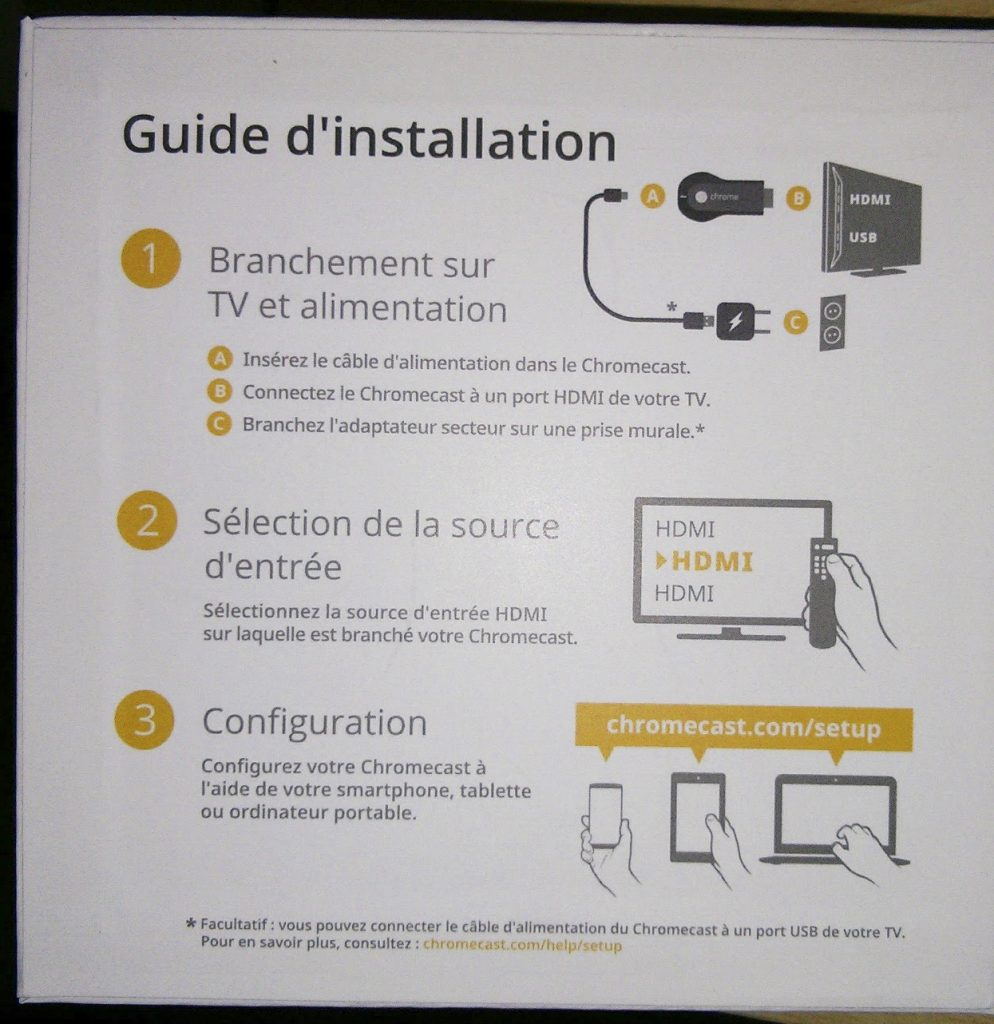 Hy Tech - Chromecast : le guide d'installation imprimé à même la boîte