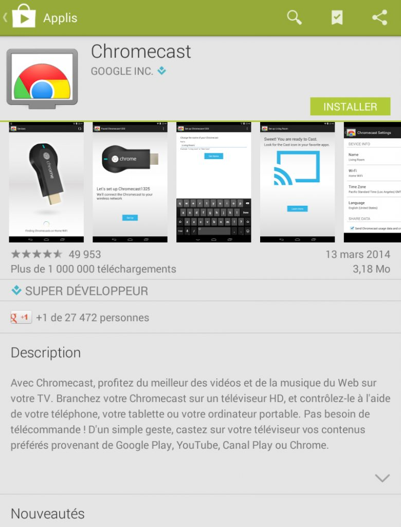 Hy Tech - Chromecast étape 3 côté tablette : l'installation de l'application Chromecast 1/3