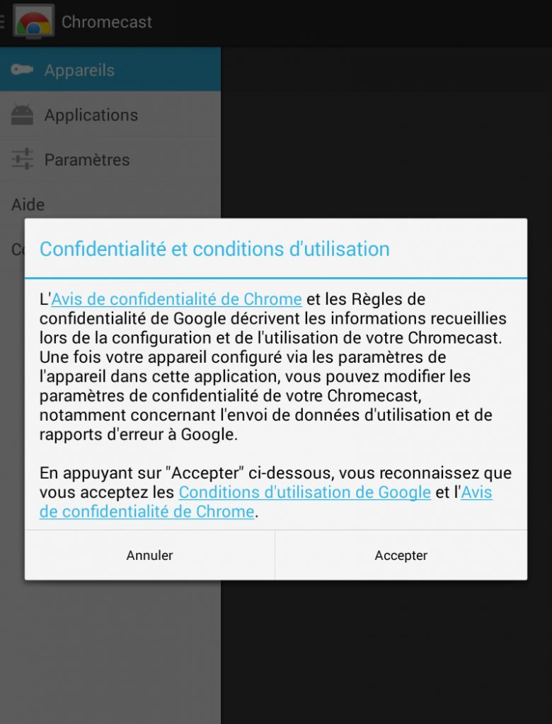 Hy Tech - Chromecast étape 3 côté tablette : l'installation de l'application Chromecast 3/3
