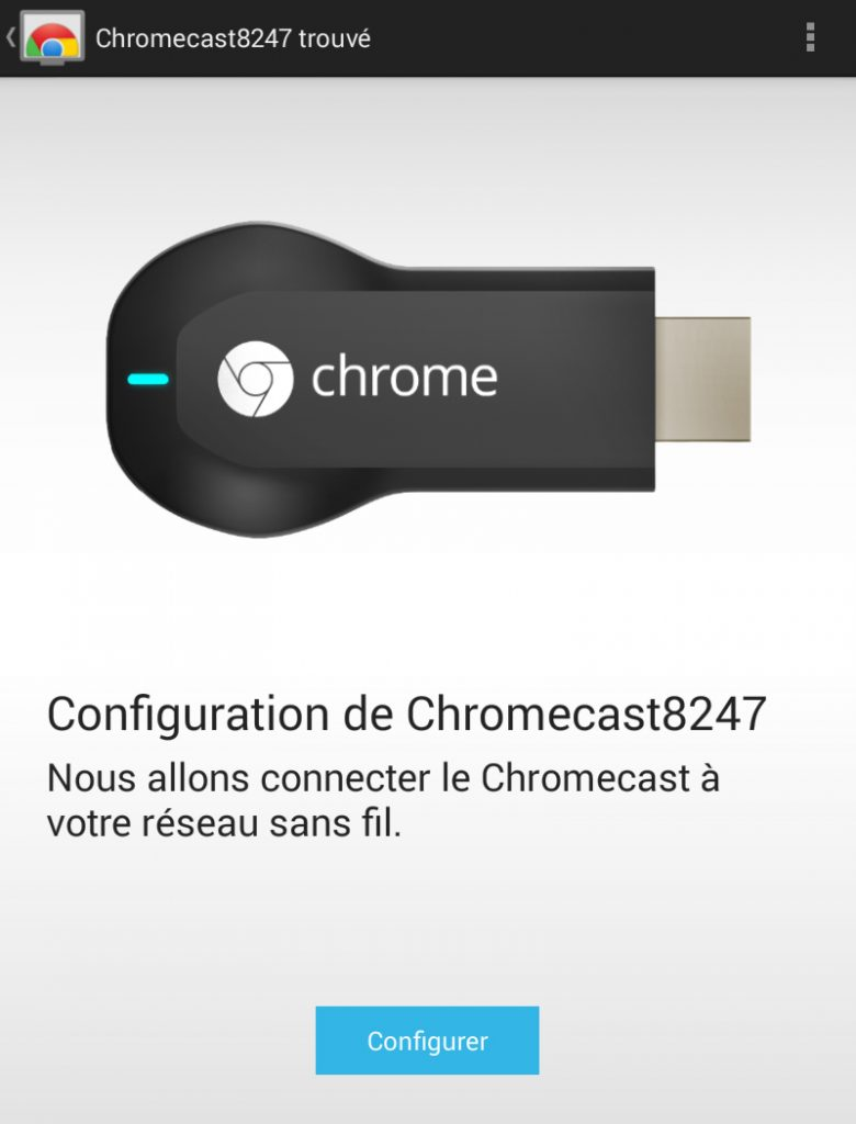 Hy Tech - Chromecast étape 4 côté tablette : l'installation du Chromecast 1/4