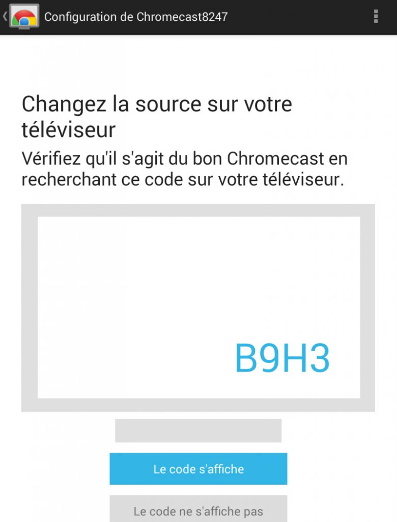 Hy Tech - Chromecast étape 4 côté tablette : l'installation du Chromecast 3/4